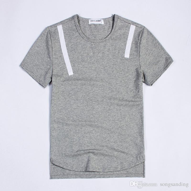 Fantastico design semplice di base per t-shirt da uomo in cotone a manica corta girocollo