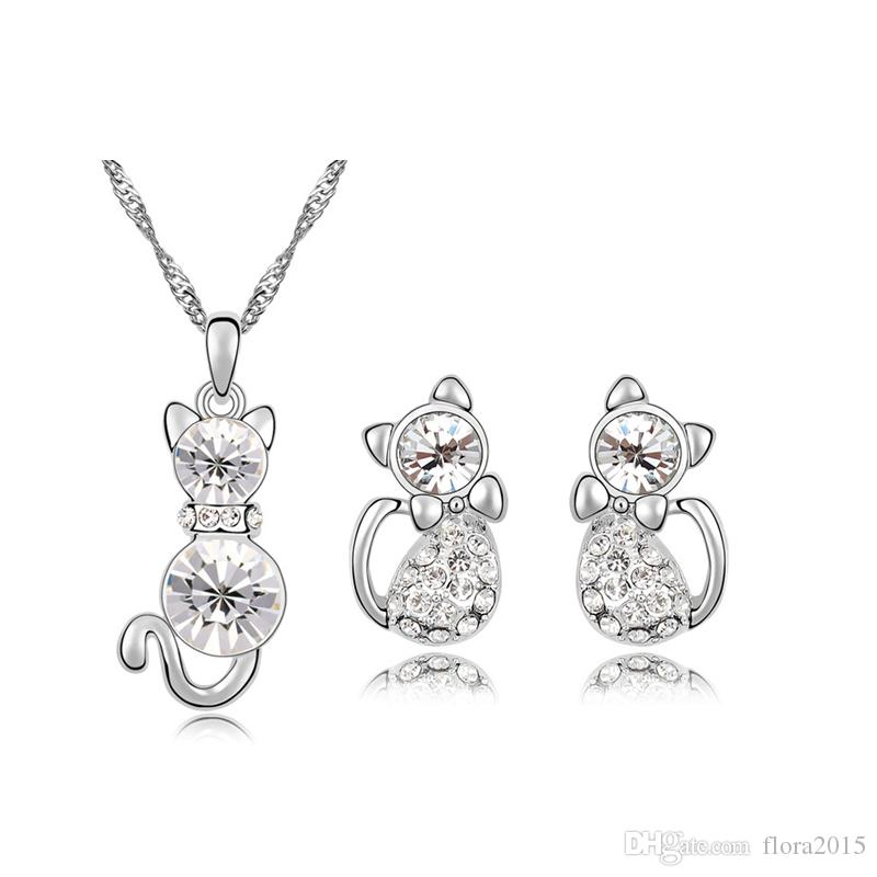 Cat Jewelry Set Made with Swarovski Elements Crystal White Gold Color Fashion Animal Shaped Necklace and Stud Earrings for Girls