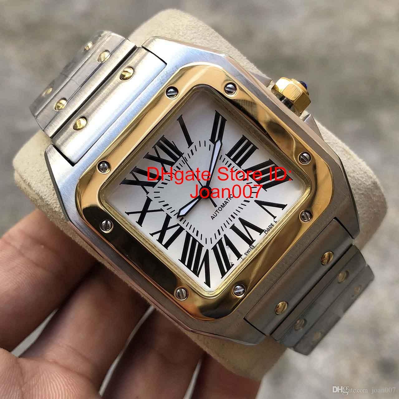 2019 Uhren 100XL Gold-Edelstahl-Uhr-2813 Automatik-Uhrwerk mechanisches Gold-Rose Gold Silber Fall Männer Sport Armbanduhr