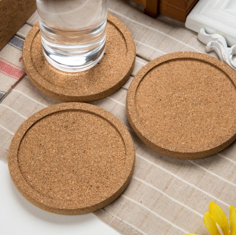 Wedding Party Favor Gift Round Plain Cork Coasters Drink Wine Mats Juice Pad for Guest LX1916