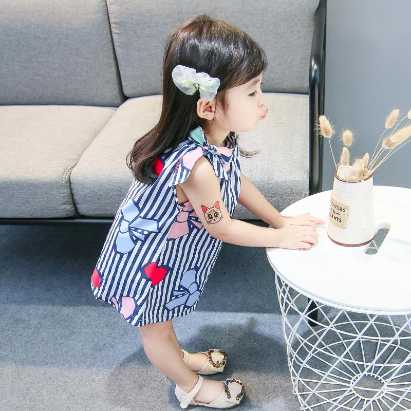 2018 new female baby summer cotton dress 1-2-3-4 year old girl summer skirt bow print dress