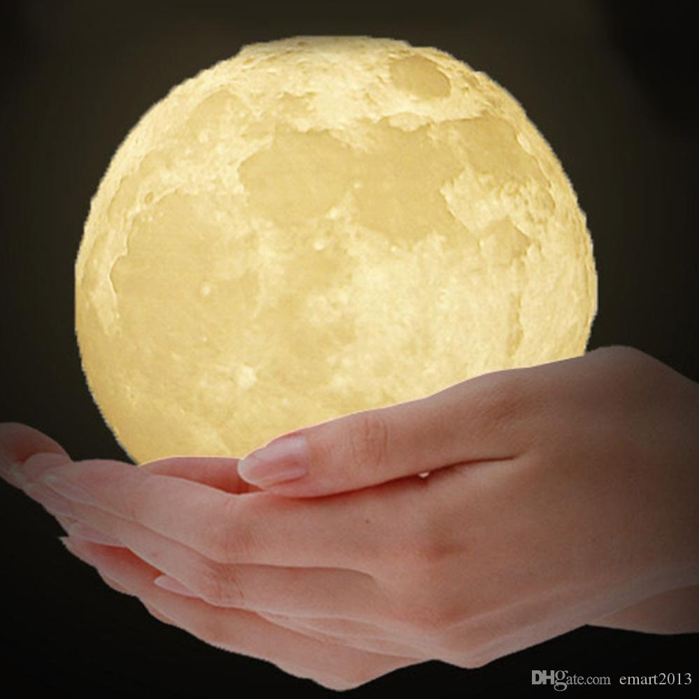 Rechargeable 3D Print Moon Lamp Touch Switch Bedroom Bookcase Night Light Home Decoration Valentine's Day Kid's Gift 3 Colors