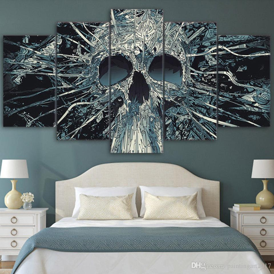 Modern Home Wall Decor Art HD Print Painting 5 Pieces Scary Skull Mask Skeleton King On Canvas Artwork Modular Abstract Picture
