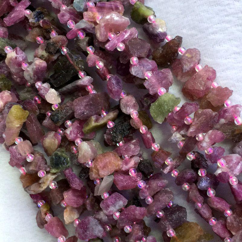 Doğal Hakiki Ham Mineral Çok Renkli Mix Turmalin Chip Nugget Ücretsiz Formu Kaba Mat Yönlü Boncuk 05359