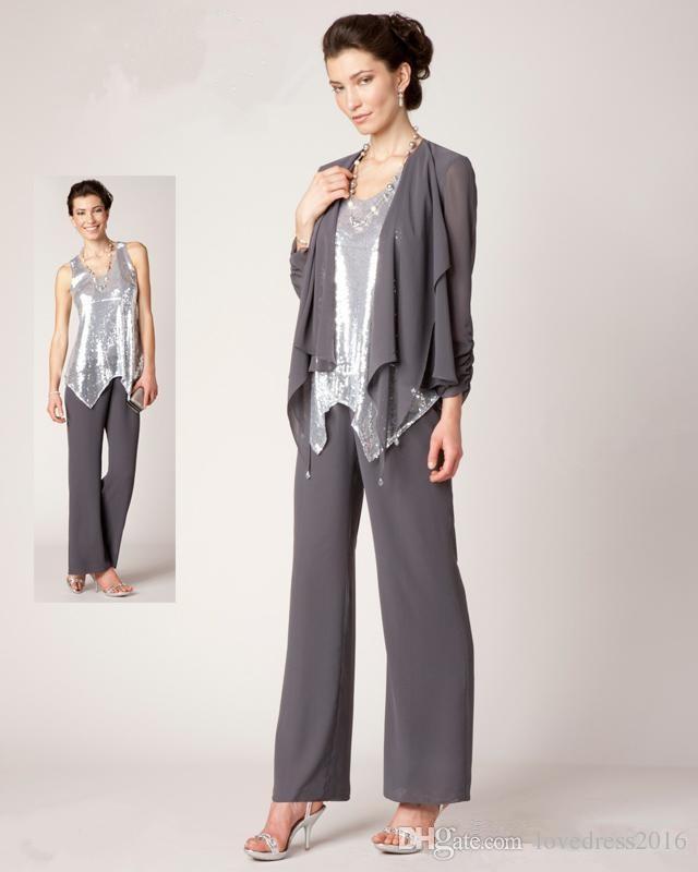 Trajes de pantalón de tres piezas de la nueva moda 2018 Madre de la novia con vestido de invitado de la boda de la chaqueta de mangas largas