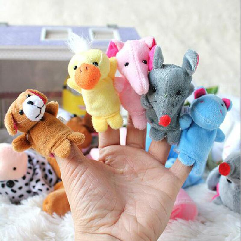 5 Pcs Creative Soft Cute Stuffed Plush Cartoon Animal Finger Puppet Early Educational Toys for Kids Birthday Gifts Funny Games