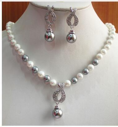 Livraison gratuite conception simple! En gros 8mm collier de perles grises et blanches + 14mm perle grise et collier pendentif bijoux ensemble