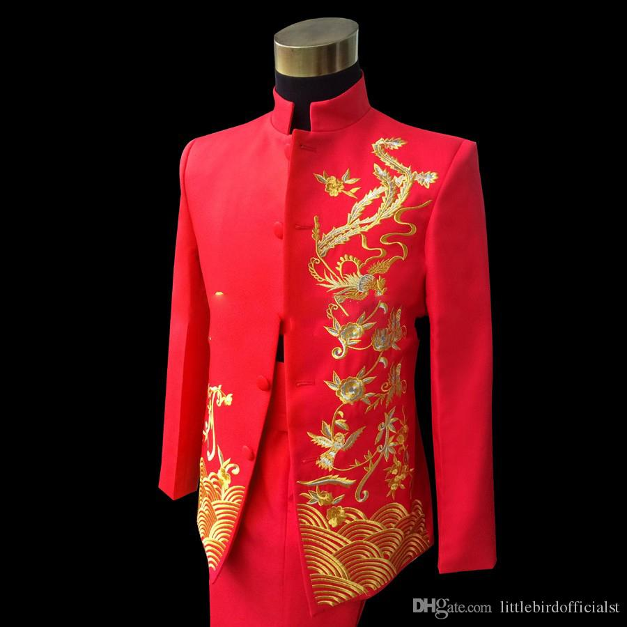 2018 Hot Sale Red Dragon ricamo Uomini Wedding abiti sposo cinese giacca tunica Suit Blazer Costumi S-2XL (Jacket + Pant)