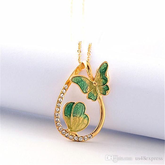 Moda 2 mariposa Collares pendientes Collar de pintura colgante de agua para mujeres hombres cadena de eslabones de oro Accesorios de joyería Regalo de Navidad de cumpleaños