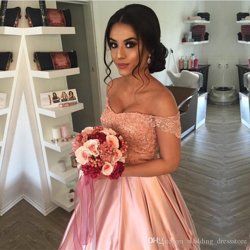 Peach Color Prom Dresses 2018-2019 Off The Shoulder Lace Appliques Evening Gowns Lace Up Back Floor Length Bridal Party Dress Cheap