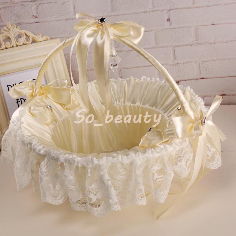 Beige Lace Flower Girl Basket Elegant Satin Bow knot Round Flower Basket Wedding Favors Wedding Decoration H5612