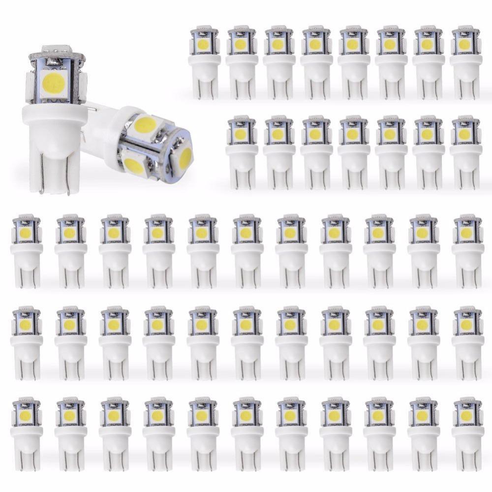 50 قطع قاد سيارة dc 12 فولت lampada ضوء t10 5050 سوبر وايت 194 168 w5w t10 led وقوف السيارات لمبة إسفين التخليص مصباح