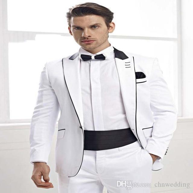 Blanc Slim Fit Hommes Costumes 2019Tuxedos De Mariée De Mariage 2 Pièces (Veste + Pantalon) Groomsmen Suits Meilleur Homme De Porter Des Blazers