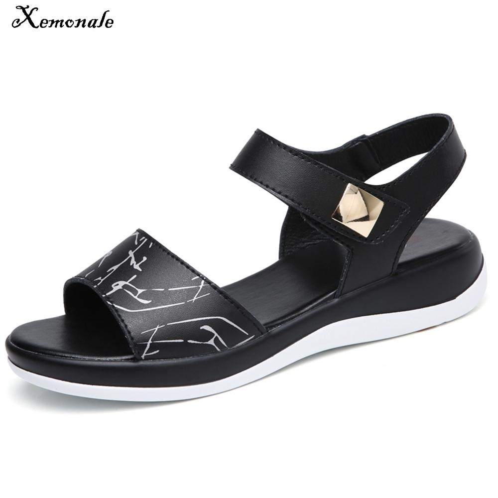 Xemonale Women Casual Sandals Summer genuine Leather Open Toe Flat Sandals ankle Strap Ladies Solid White gladiator Sandals