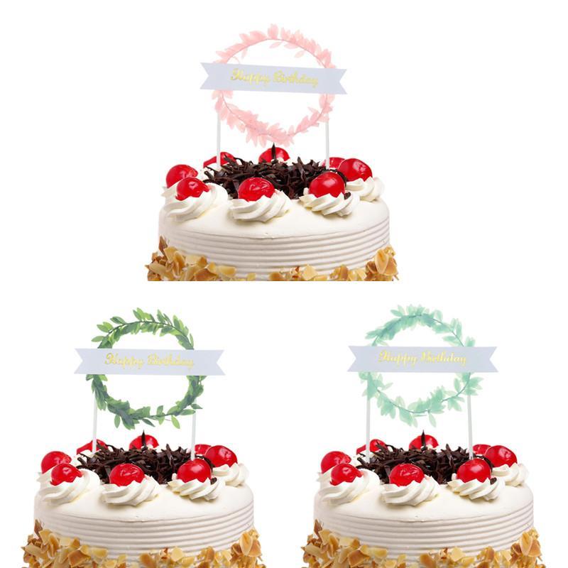 20 pc Bolo Toppers Bandeiras Feliz Aniversário Caçoa o Presente Cupcake Bolo Topper Festa de Casamento Da Noiva Chá de bebê Cozimento DIY Decoração de Natal Novo