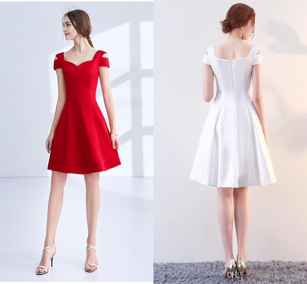 High-Quality White Red Ball Prom Gowns A Shoulder In Spring And Autumn 2020 New Skirt Backless Cocktail Party Dresses DH113