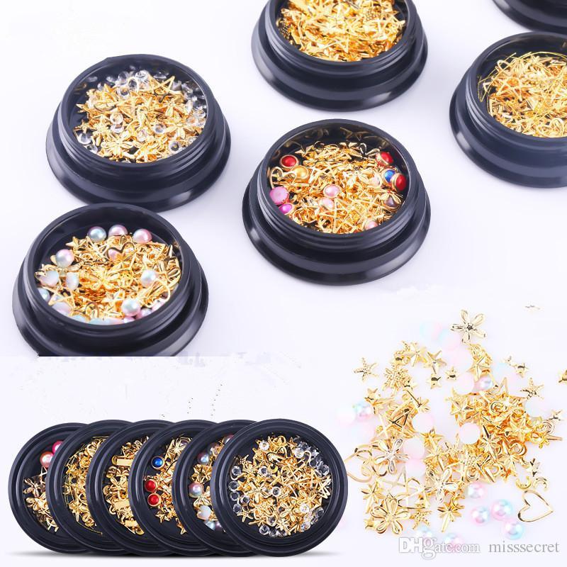 7 Styles 3D Nail Art Décorations Moon Star Forme brillant étincelantes Diamant Perle Fournitures Nail Art Nails bricolage Décor manucure