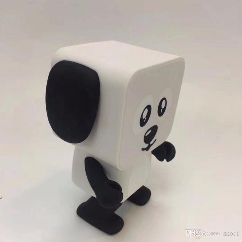춤추는 개 블루투스 스피커 휴대용 미니 전자 로봇 스테레오 스피커 음악과 함께 전자 도보 장난감 무선 스피커 장난감