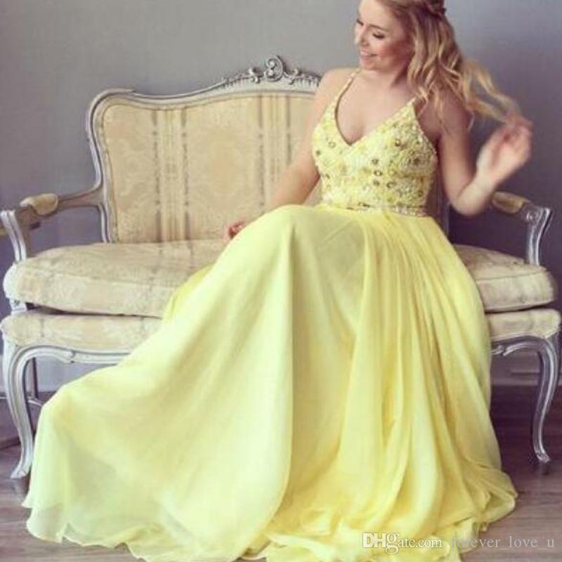 2019 Plus Size abiti da ballo lunghi in chiffon giallo senza spalline con perline di cristalli Top floor-lunghezza abiti da sera da sera Custom Made