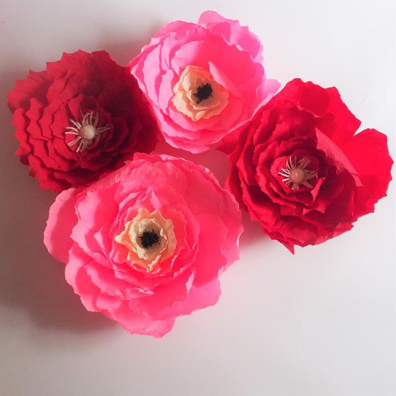 4PCS Krep Kağıt Çiçekler Backdrop Yapay Dekoratif Çiçek Düğün Olay Bebek Hemşirelik Windows Görüntü Özelleştirilmiş süslemeler Ev İçin