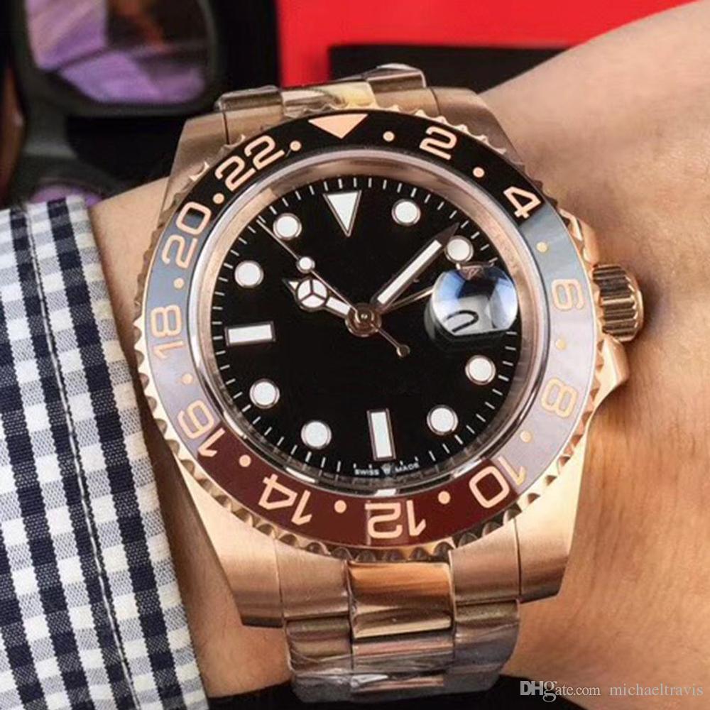 Nova venda Rose gold GMT2 Listado V3 Versão Batman mens watch movimento automático Cerâmica Rotativa Bezel vidro de safira cinta de aço relógio de pulso