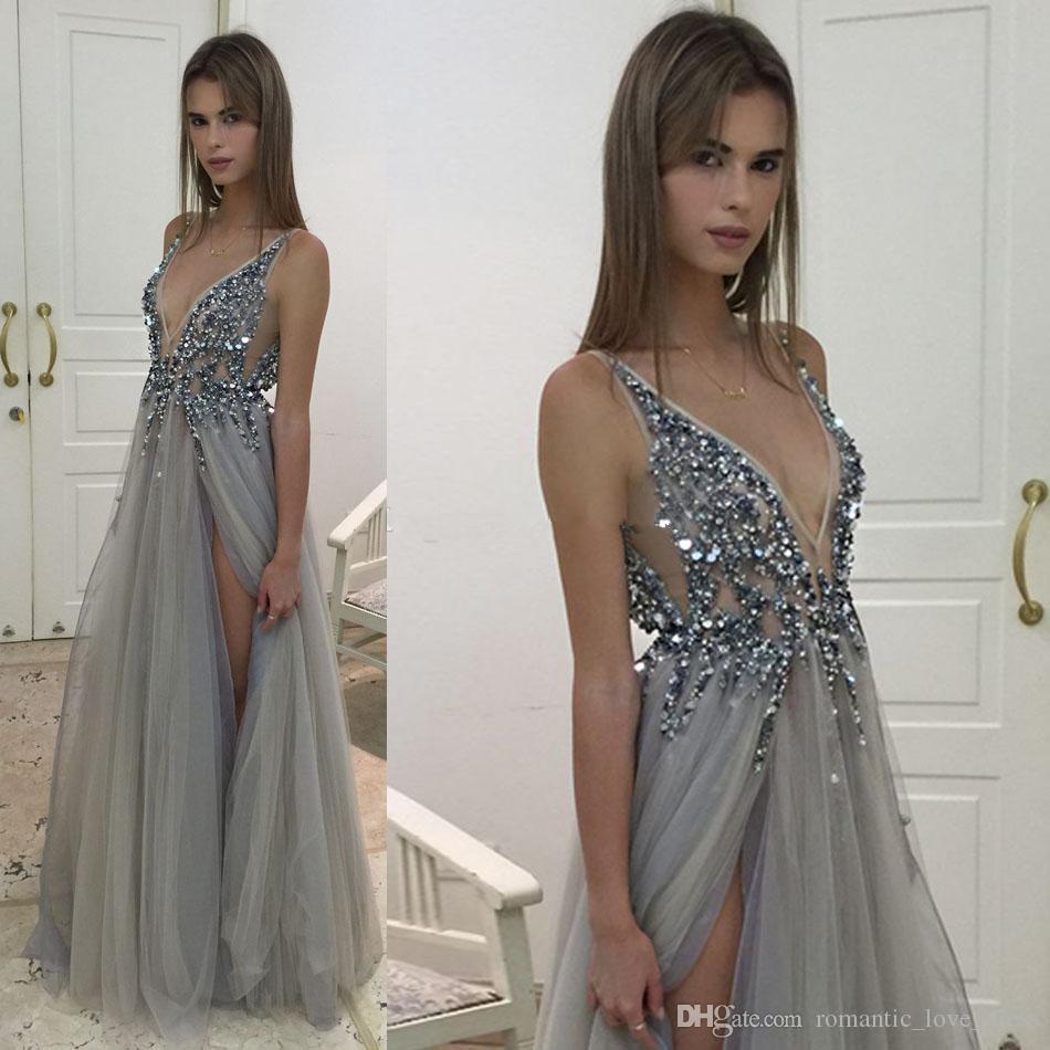 Vestidos de noche Sheer plata atractivo con los cristales de lujo diamantes de imitación sin respaldo de longitud de cuello en V profundo de alta Dividir tul vestidos de fiesta formales E016