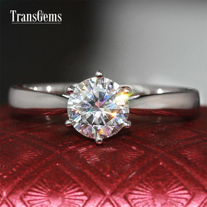 Transgems Oro bianco 18 carati 1 carati Diametro 6.5mm F Colore Moissanite Anello di fidanzamento per le donne Solitare Anello oro S923