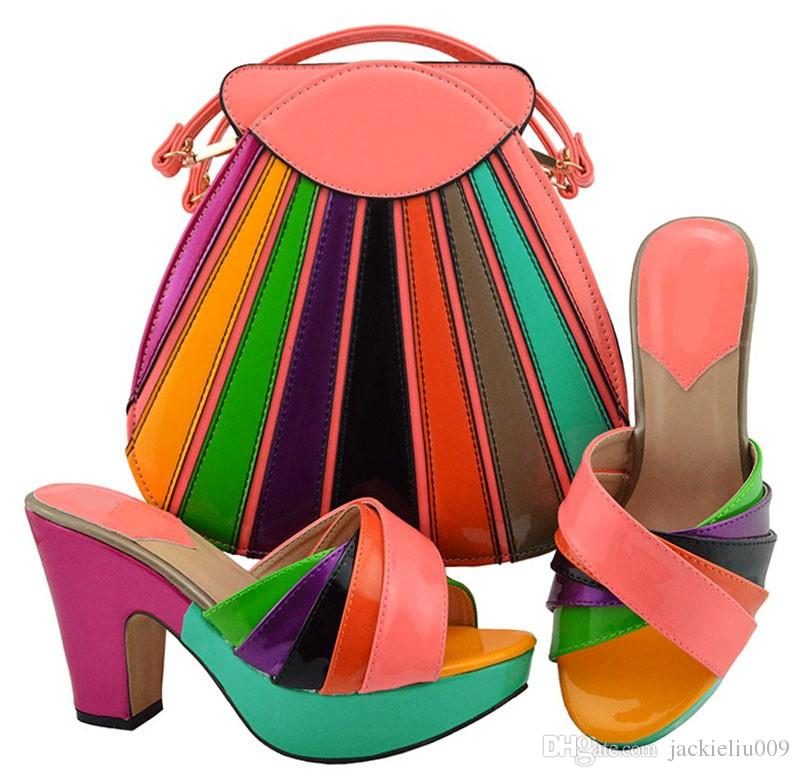 Top selling peach and colorful women pumps with a big bag set african shoes match handbag for dress MD008,heel 10.5CM