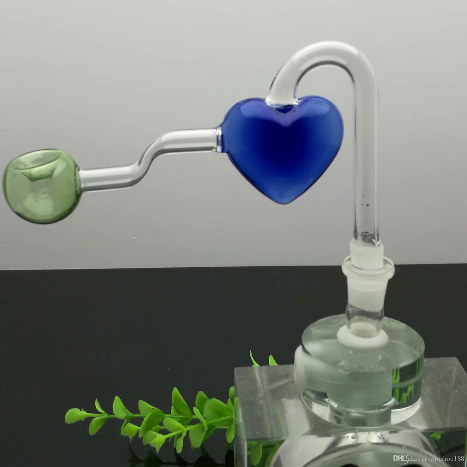pot pêchers de verre de coeur de couleur pipes verre Bangs verre Bubblers For Smoking Couleurs tuyau Mix