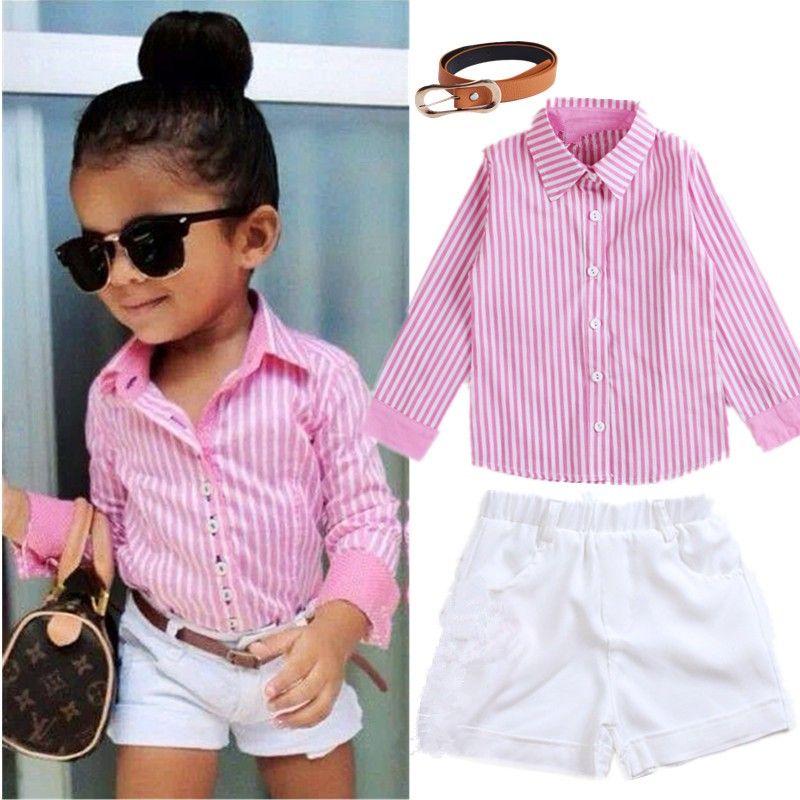Compre La Ropa Rosa De Los Niños De Verano De Rayas Camisa Blanca Shorts Cinturón De 3 Piezas Establece Vestido De La Muchacha De Moda Para Niños 2 7 Yrs