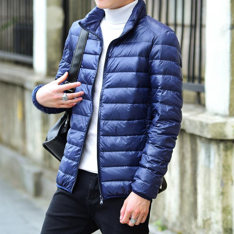 2018 Winter Мужчины Ultralight куртка белая утка вниз куртки мужские пуховики на открытом воздухе зима Мужчины Повседневная JacketCoat