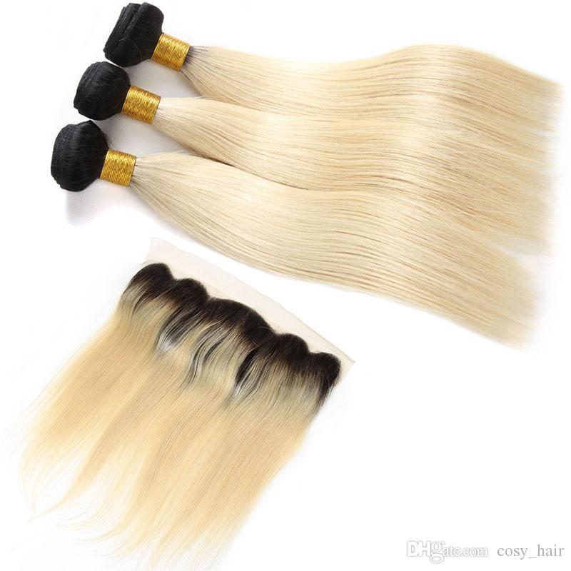 حزم الشعر البكر البرازيلي مستقيم مع أمامي 1B 613 عذراء الشعر البشري 10-24 بوصة مستقيم نسج الباعة