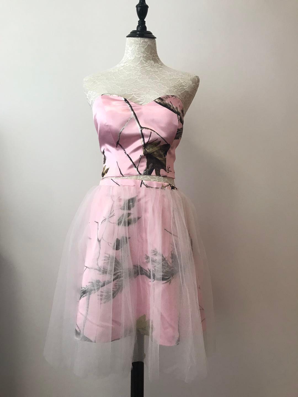 Kurze Brautjungfern 2018 Rosa CAMO Zwei Stücke Sommer Hochzeit Party Kleider Echt Bild