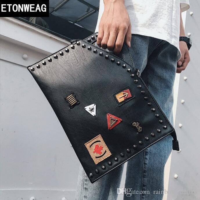 Factory direct brand men bag cool decoration men hand bag personality rivet punk hand bags casual leather fashion wrist bag