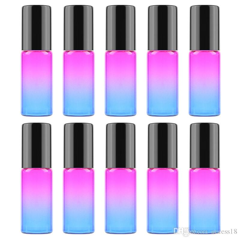 1200pcs/lot Gradient Color 5ml Glass Roll On Roller Bottles For Essential Oils Perfume Bottle Deodorant Containers With Gold Black lid