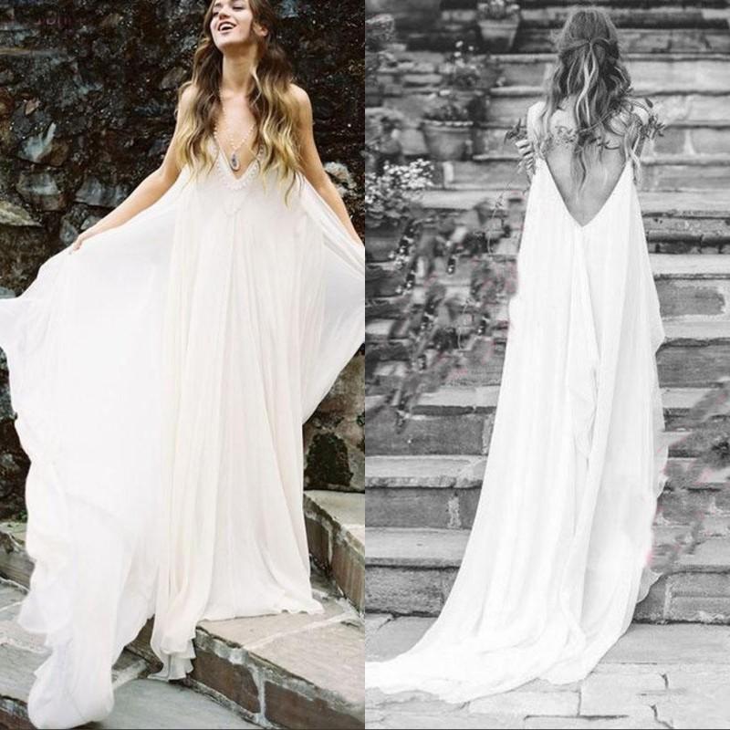 2019 Robe De Mariage Simple Plage De Mousseline De Soie Des Robes De Mariée Bohème Pas Cher Sexy Dos Nu Boho Robes De Mariée
