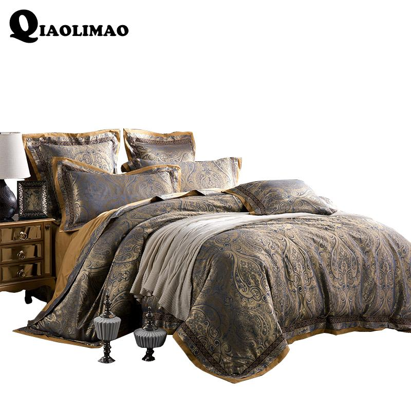 Sateen Jacquard 이불 세트 100 % Cotton 4 / 6pcs Bedlinen Diagonal Printing 트윈 더블 퀸 듀벳 커버 + 플랫 시트 + Pillowcases