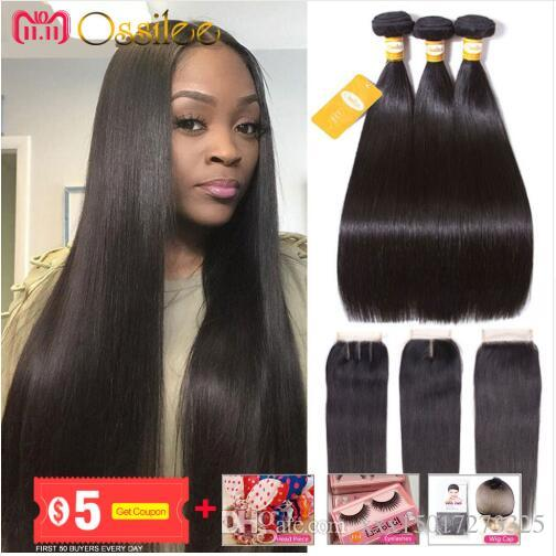 Straight Hair Bundles with Closure Human Hairs Bundles with closure Non Remy Peruvian hair 3 Bundles with Lace closure