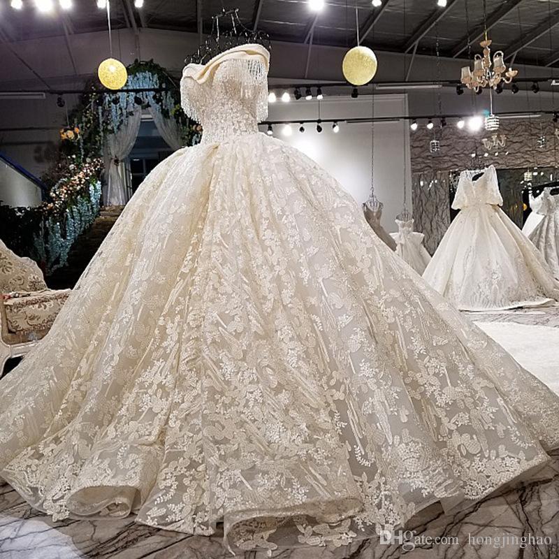 С плечом 2019 Свадебные платья Бальные платья Круждение поезда Vestido de Novia Bridal Plasss Plus Размер на заказ