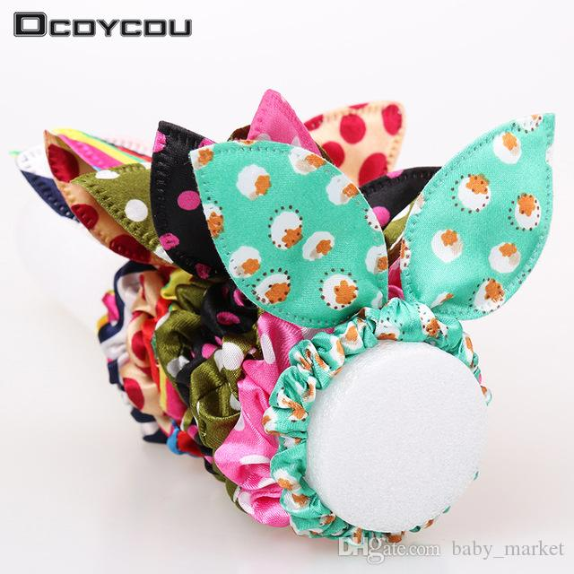 150pcs/lot Original Head Flower Hair Accessories Headdress Korea Trinkets Rabbit Ears Fabric Polka Dot Rubber Band Hair Rope Ring