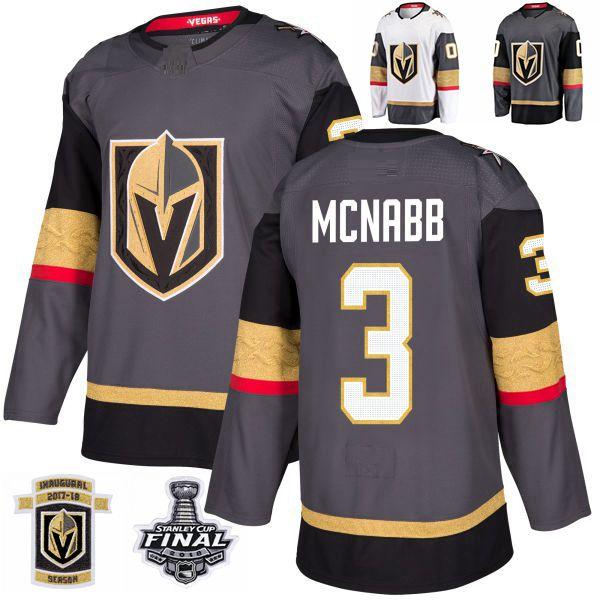 2018 Stanley Cup Final Vegas Golden Knights Brayden McNabb Hockey Jerseys Stitched 3 Brayden McNabb Jersey Custom Name Grey Inaugural Patch