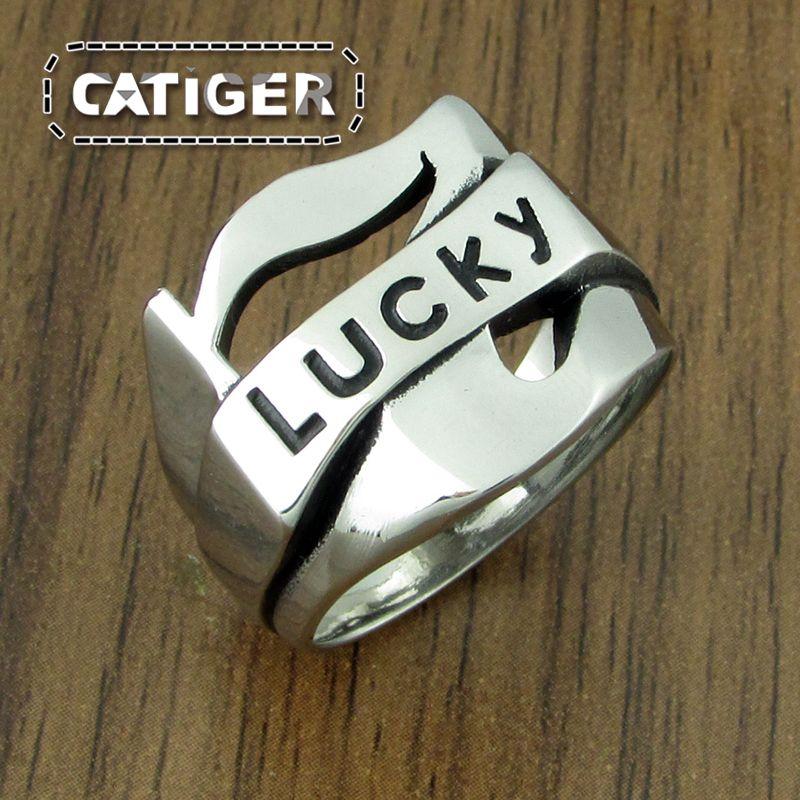 Darmowa dostawa ! Lucky Number 7 Ring 316L Stal nierdzewna Punk Rock Motocykl Rowerzysta Pierścienie Czarny Silver Pierścionek dla mężczyzn US Rozmiar 7-13 #
