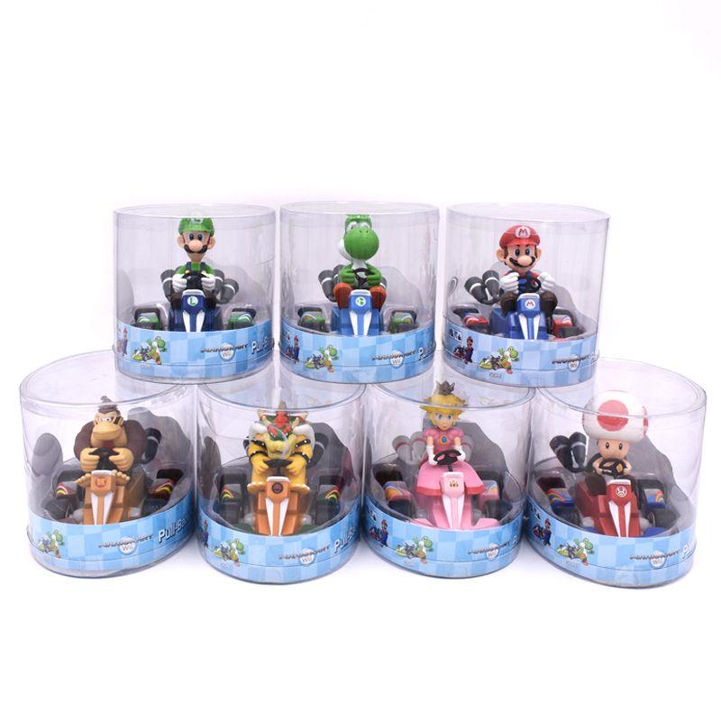Super Mario Bros Figures 12Cm Japan Anime Luigi Dinosaurs Donkey Kong Bowser Kart Pull Back Car Pvc Figma Kids Hot Toys for Boys