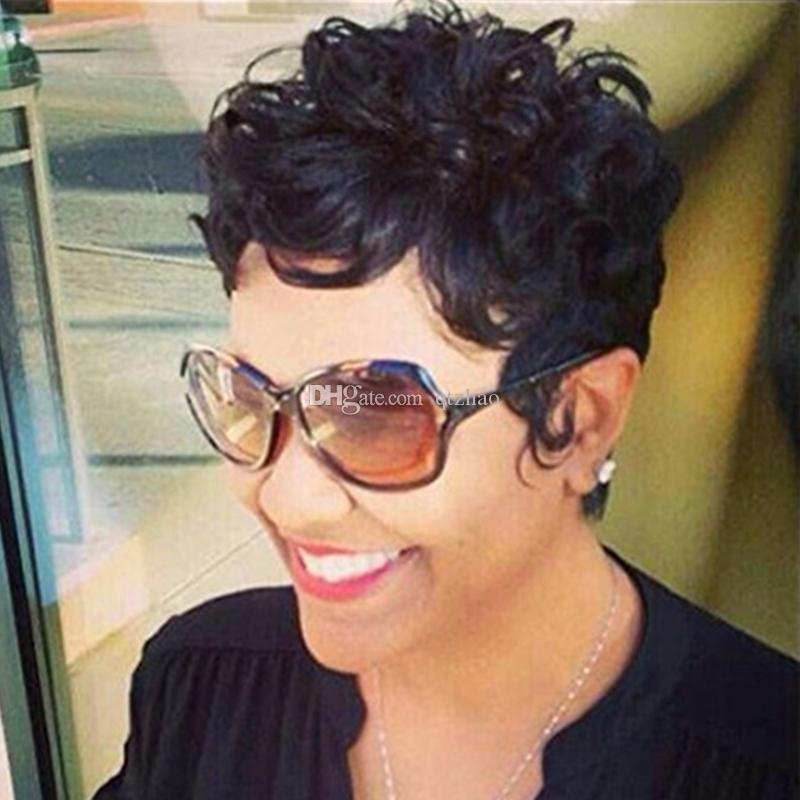 Perruques de cheveux humains courts pour les femmes noires bouclés fabriqués à la machine aucun perruques de dentelle cheveux vierges perruques de célébrités