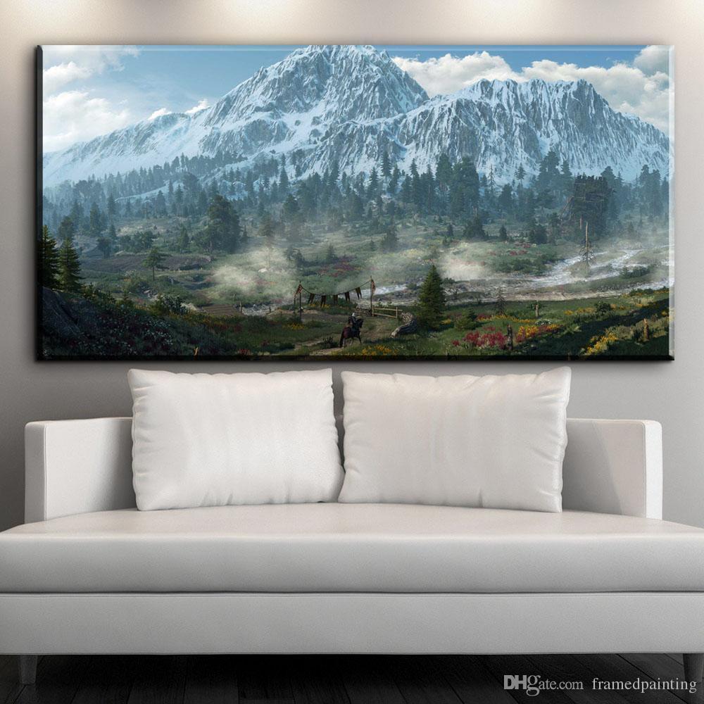 modern canvas art winter mountain cottage still life canvas oil art painting for livingroom bedroom decoration No framed