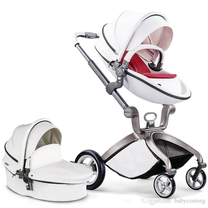 Hotmom Classic High Landscape PU cuero cochecito de bebé 2 en 1/3 en 1, carro de bebé estándar europeo, cochecitos de bebé plegables infantiles silla de paseo