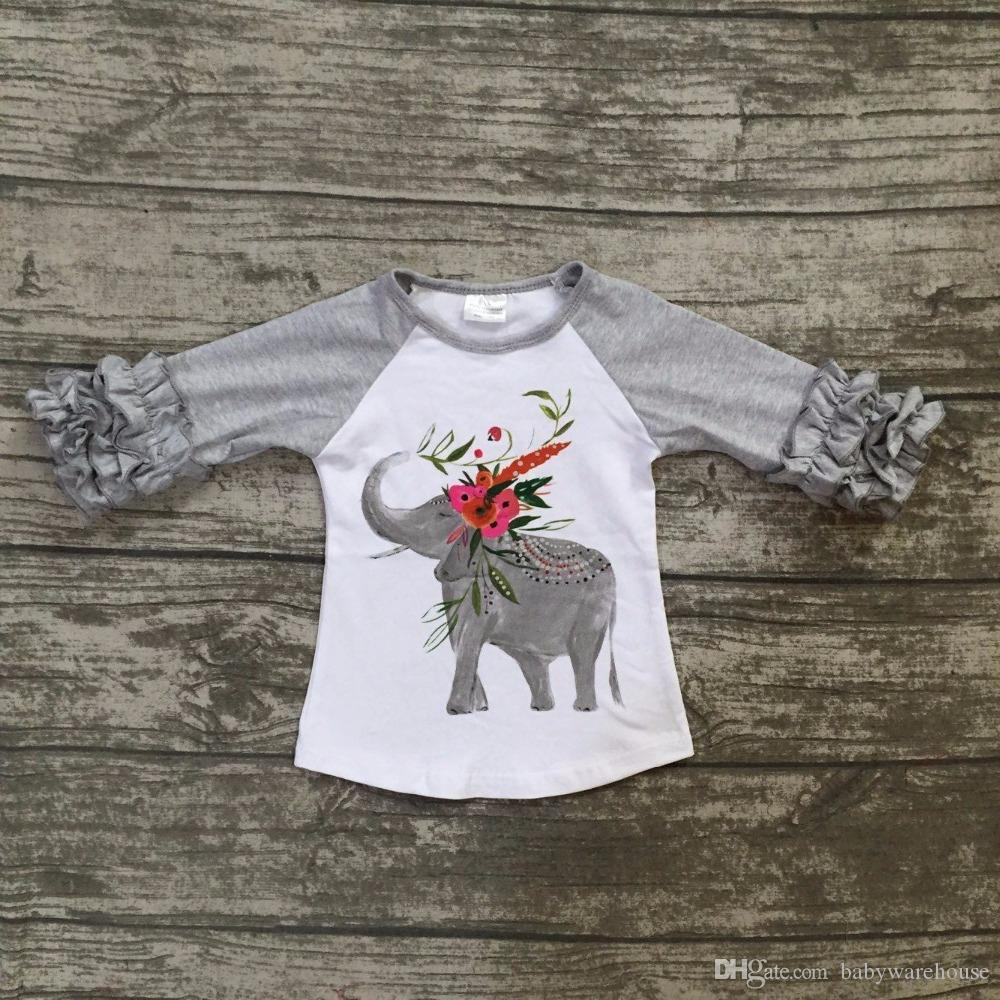 b0e9bbe2 Hot Toddler Girls Clothes Kids Clothing Spring Autumn Elephant Print Tops  Baby Clothes Kids Girls Long Sleeve T shirts Cute Cotton T shirt