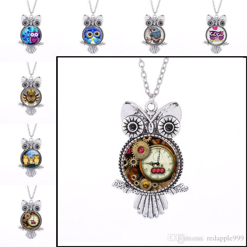 Vintage Silver Punk Owl Frame Time Gem Owl Glass Cabochon Necklace Owl Pendants Chain Fashion Jewelry for Women Kids Gift Drop Shipping