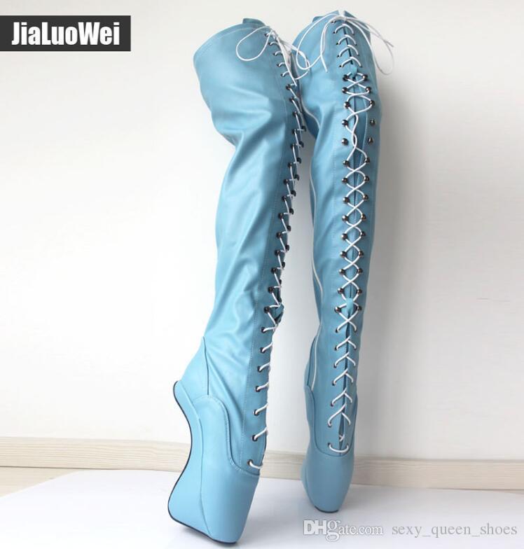 Ücretsiz Shiping 2018 YENI Extreme Yüksek Topuk 18 cm Lace up Bale Boot Unisex Toynak Topuk Seksi Fetiş Over-Diz Uyluk Yüksek Çizmeler Botas