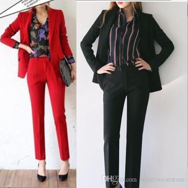Saf Erkek arkadaşı Ceket dokuz uzunluk Pantolon koyu yeşil / Siyah zarif çekici kadın ofis bayan kadınlar suit